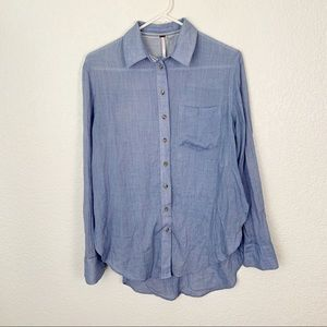Free People Blue Button Down XS
